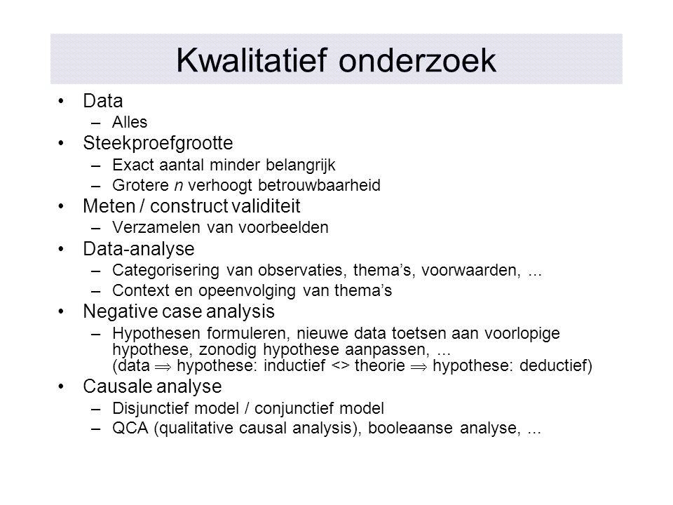 Kwalitatief onderzoek Data –Alles Steekproefgrootte –Exact aantal minder belangrijk –Grotere n verhoogt betrouwbaarheid Meten / construct validiteit –