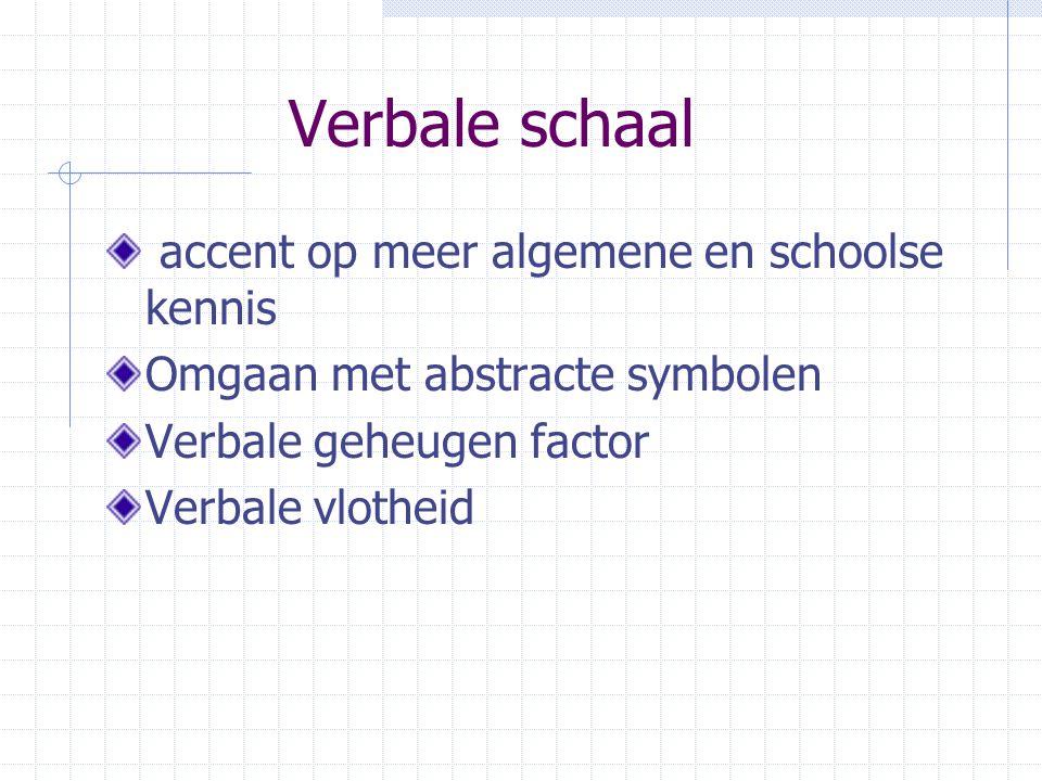 Verbale schaal accent op meer algemene en schoolse kennis Omgaan met abstracte symbolen Verbale geheugen factor Verbale vlotheid