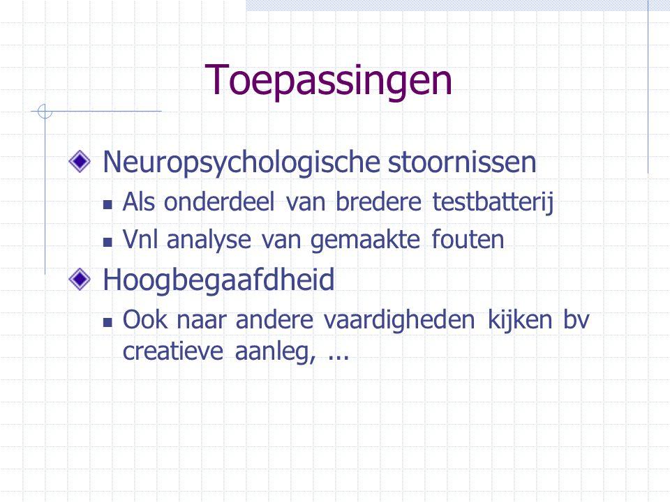 Toepassingen Neuropsychologische stoornissen Als onderdeel van bredere testbatterij Vnl analyse van gemaakte fouten Hoogbegaafdheid Ook naar andere va