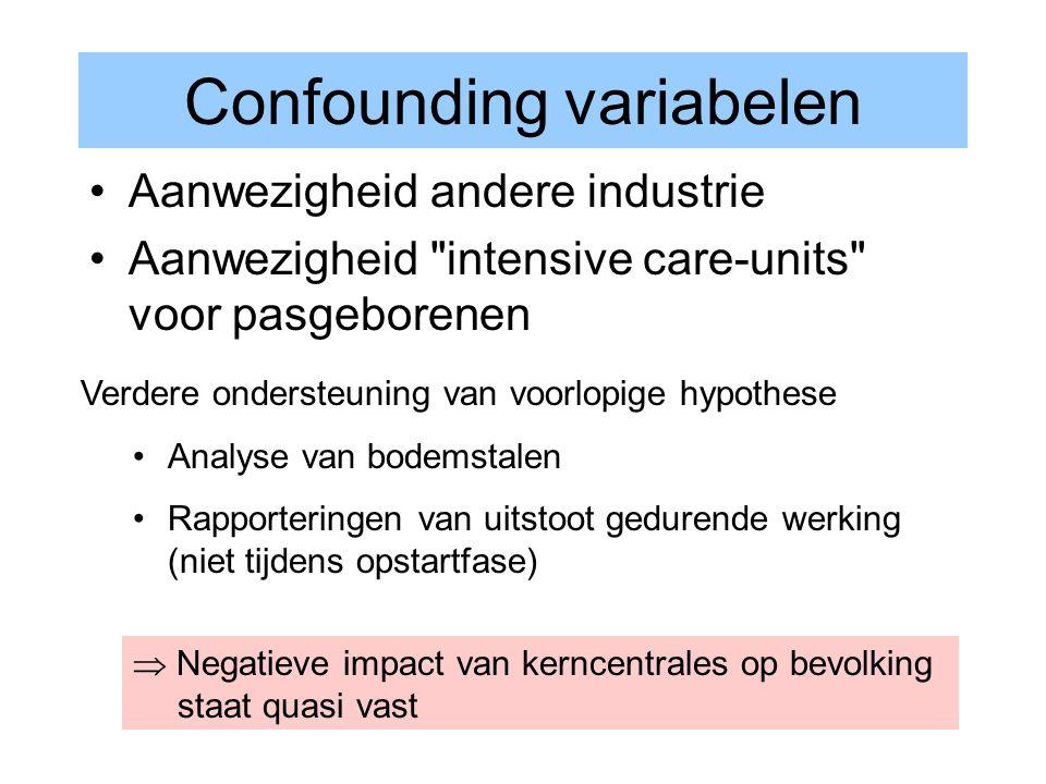 Confounding variabelen Aanwezigheid andere industrie Aanwezigheid