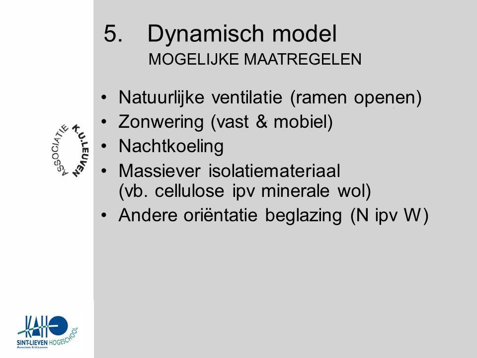 Natuurlijke ventilatie (ramen openen) Zonwering (vast & mobiel) Nachtkoeling Massiever isolatiemateriaal (vb.