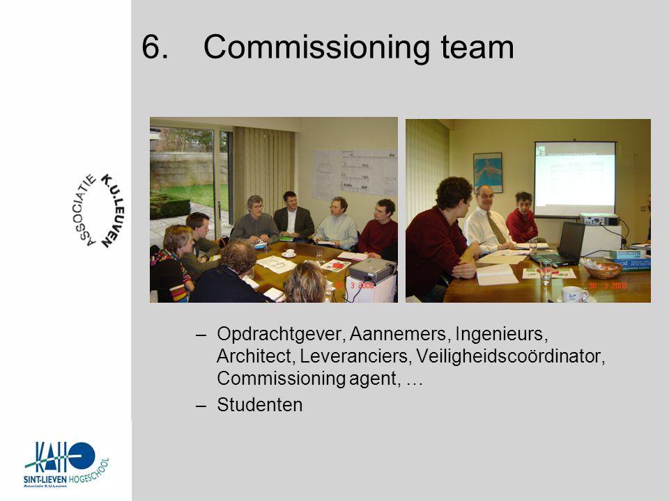 –Opdrachtgever, Aannemers, Ingenieurs, Architect, Leveranciers, Veiligheidscoördinator, Commissioning agent, … –Studenten 6.Commissioning team