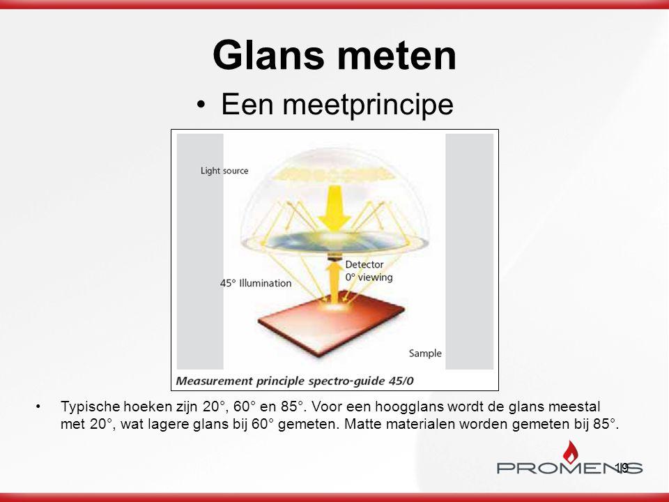 19 Glans meten Een meetprincipe Typische hoeken zijn 20°, 60° en 85°. Voor een hoogglans wordt de glans meestal met 20°, wat lagere glans bij 60° geme