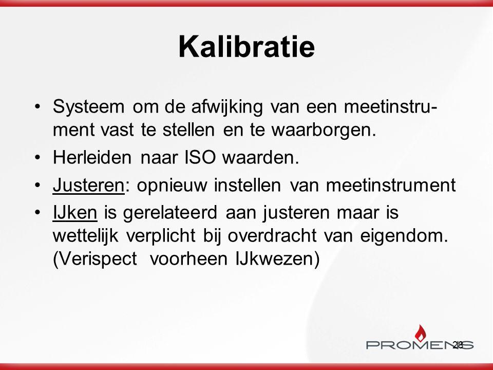 28 Kalibratie Systeem om de afwijking van een meetinstru- ment vast te stellen en te waarborgen. Herleiden naar ISO waarden. Justeren: opnieuw instell