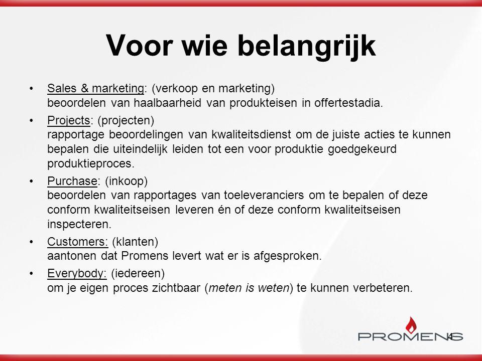 4 Voor wie belangrijk Sales & marketing: (verkoop en marketing) beoordelen van haalbaarheid van produkteisen in offertestadia. Projects: (projecten) r