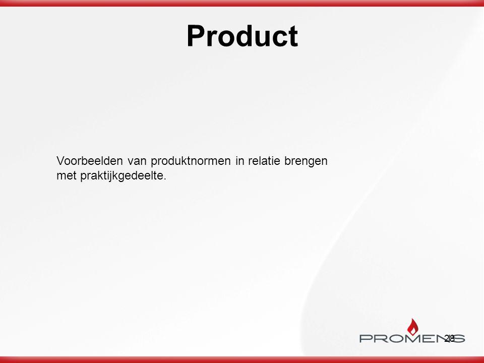 28 Product Voorbeelden van produktnormen in relatie brengen met praktijkgedeelte.