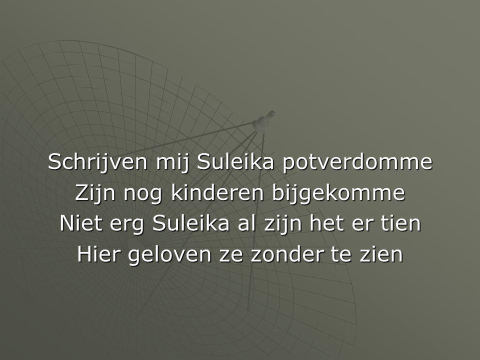 Schrijven mij Suleika potverdomme Zijn nog kinderen bijgekomme Niet erg Suleika al zijn het er tien Hier geloven ze zonder te zien