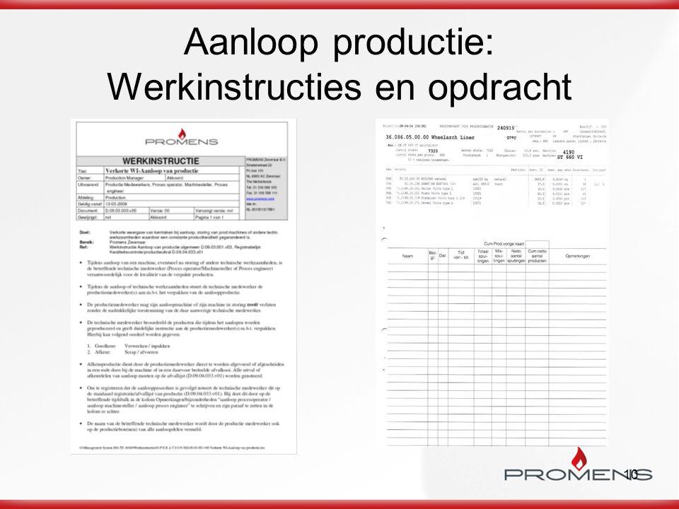 10 Aanloop productie: Werkinstructies en opdracht