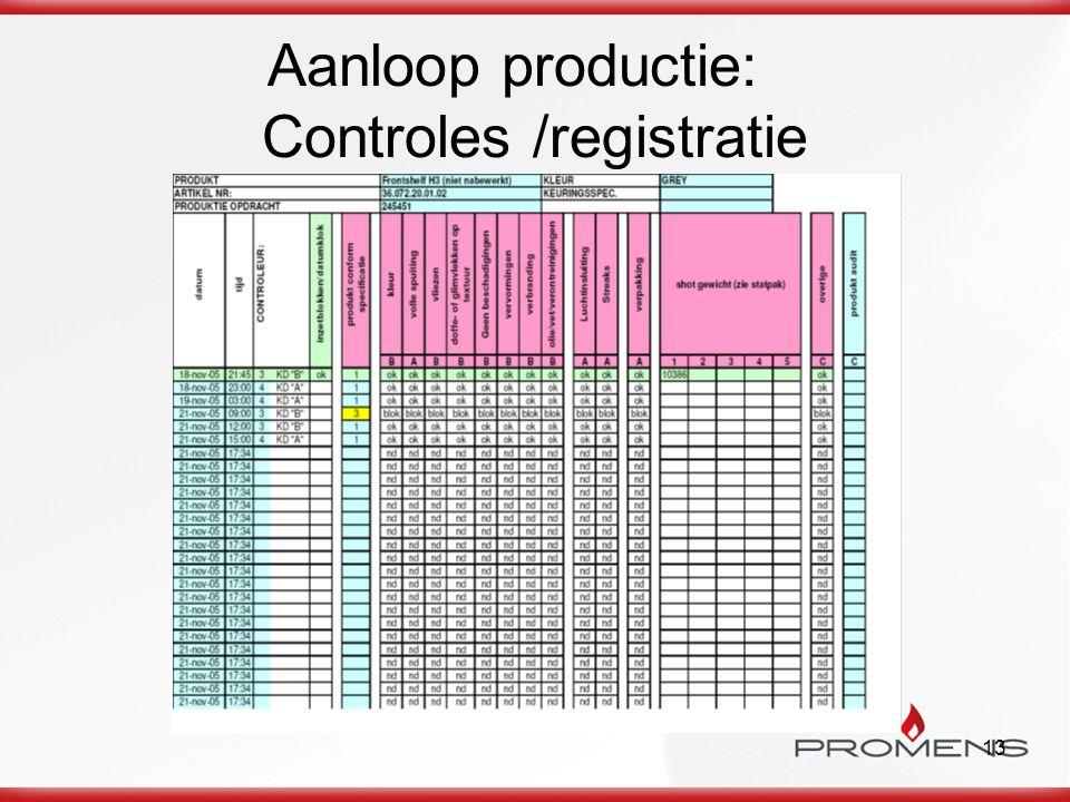 13 Aanloop productie: Controles /registratie
