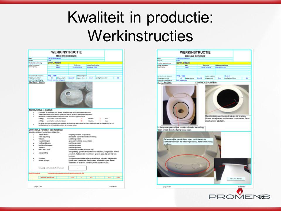 15 Kwaliteit in productie: Werkinstructies