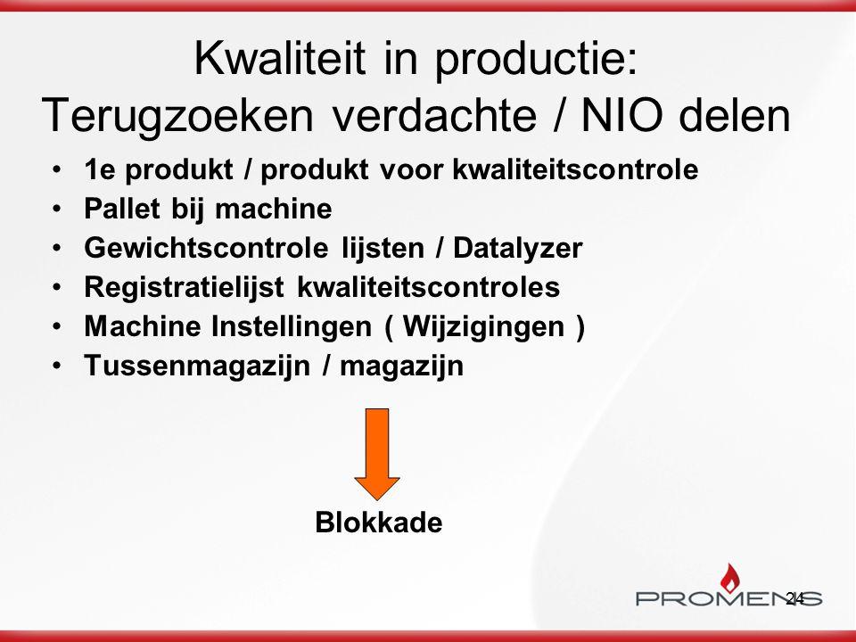 24 Kwaliteit in productie: Terugzoeken verdachte / NIO delen 1e produkt / produkt voor kwaliteitscontrole Pallet bij machine Gewichtscontrole lijsten