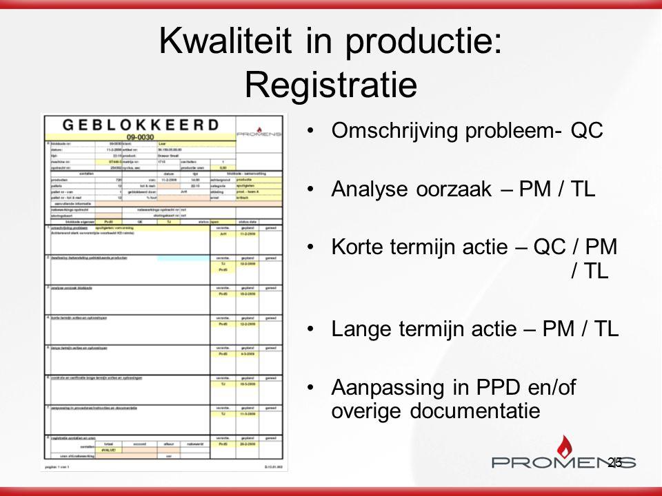 25 Kwaliteit in productie: Registratie Omschrijving probleem- QC Analyse oorzaak – PM / TL Korte termijn actie – QC / PM / TL Lange termijn actie – PM