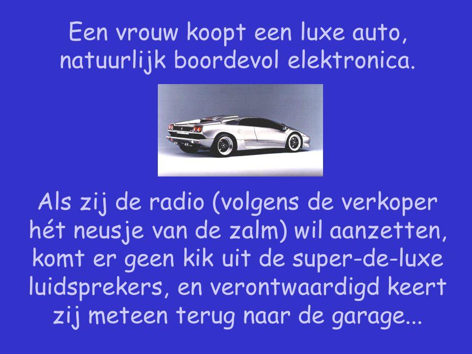 Een vrouw koopt een luxe auto, natuurlijk boordevol elektronica.