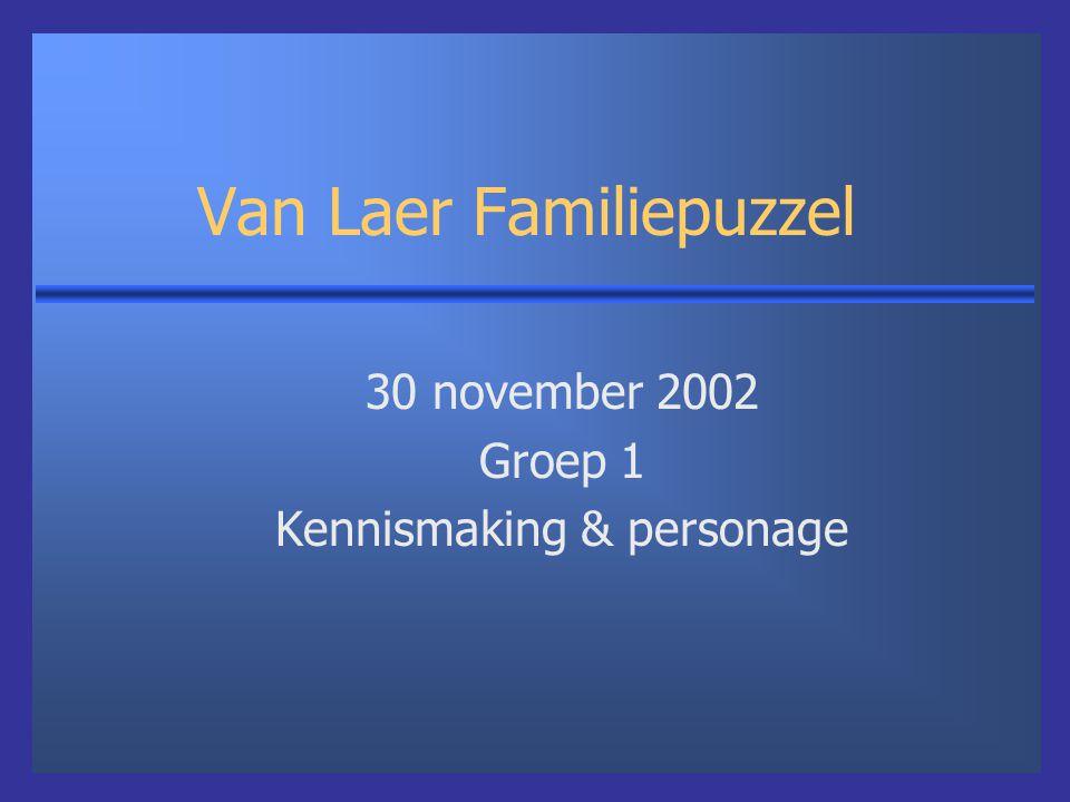 Van Laer Familiepuzzel 30 november 2002 Groep 1 Kennismaking & personage
