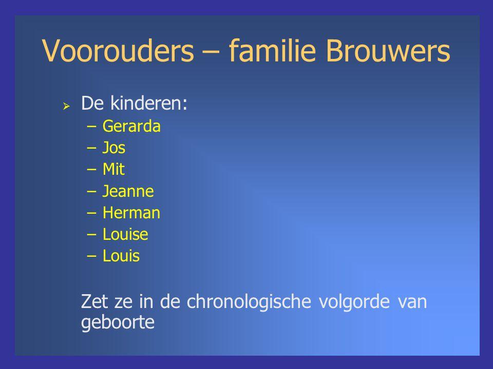 Voorouders – familie Brouwers  De kinderen: –Gerarda –Jos –Mit –Jeanne –Herman –Louise –Louis Zet ze in de chronologische volgorde van geboorte