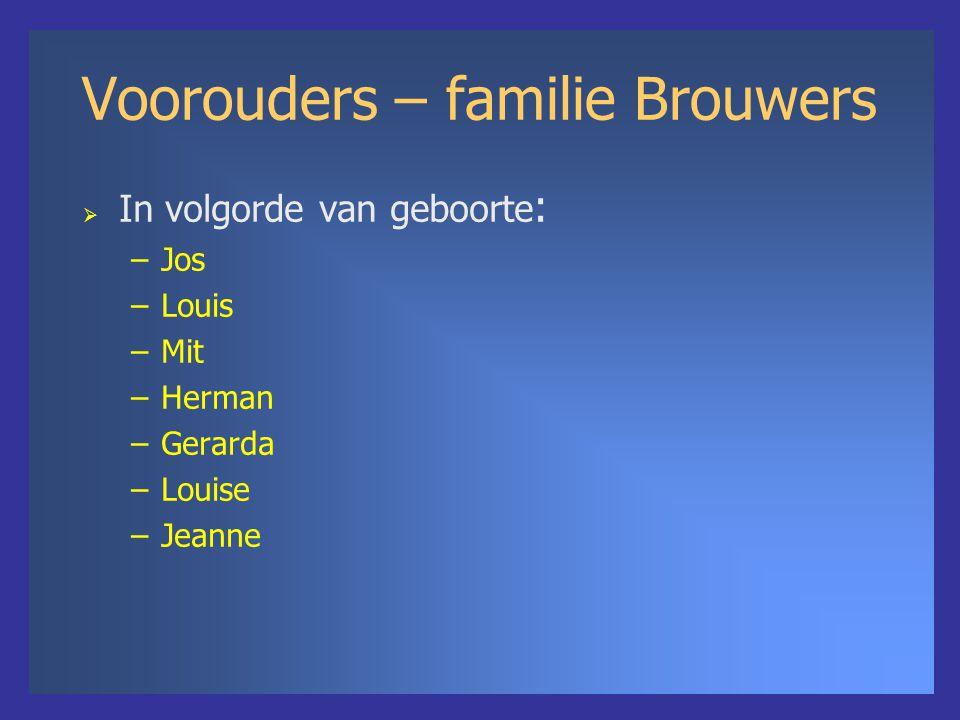 Voorouders – familie Brouwers  In volgorde van geboorte : –Jos –Louis –Mit –Herman –Gerarda –Louise –Jeanne