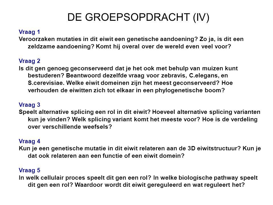 DE GROEPSOPDRACHT (IV) Vraag 1 Veroorzaken mutaties in dit eiwit een genetische aandoening.