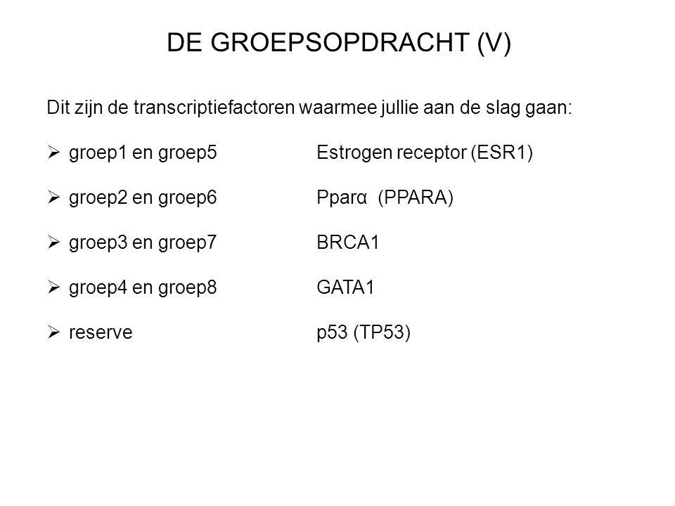 DE GROEPSOPDRACHT (V) Dit zijn de transcriptiefactoren waarmee jullie aan de slag gaan:  groep1 en groep5Estrogen receptor (ESR1)  groep2 en groep6Pparα (PPARA)  groep3 en groep7BRCA1  groep4 en groep8GATA1  reservep53 (TP53)