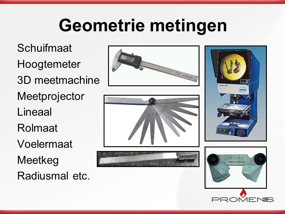 19 Geometrie metingen Schuifmaat Hoogtemeter 3D meetmachine Meetprojector Lineaal Rolmaat Voelermaat Meetkeg Radiusmal etc.