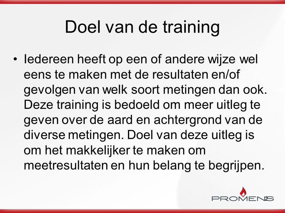 2 Doel van de training Iedereen heeft op een of andere wijze wel eens te maken met de resultaten en/of gevolgen van welk soort metingen dan ook. Deze