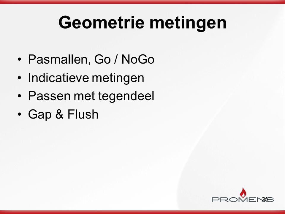 20 Geometrie metingen Pasmallen, Go / NoGo Indicatieve metingen Passen met tegendeel Gap & Flush