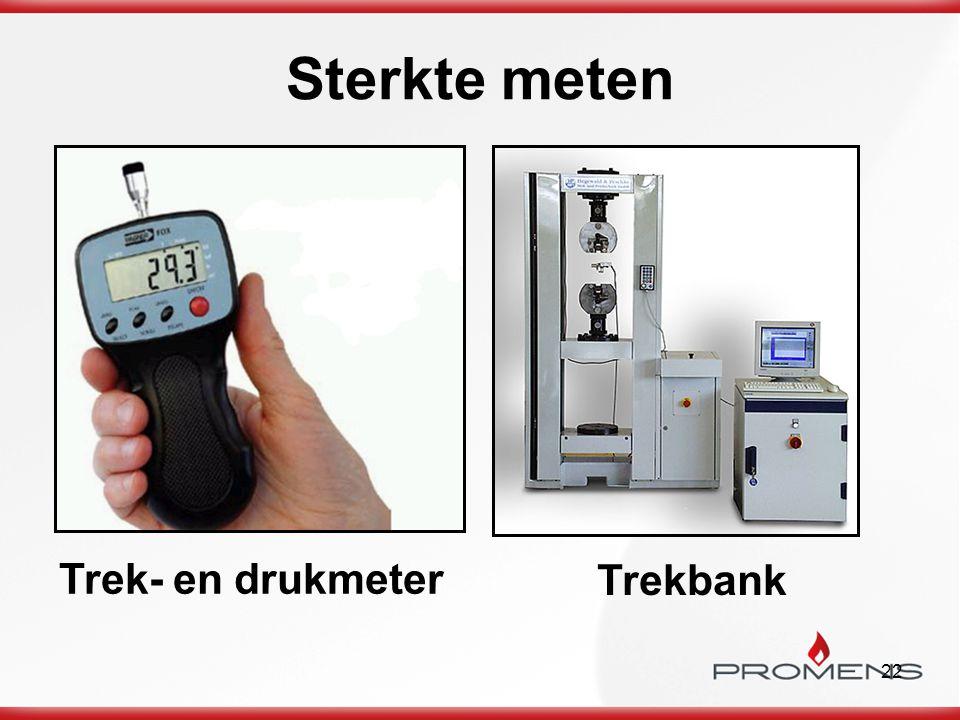 22 Sterkte meten Trek- en drukmeter Trekbank