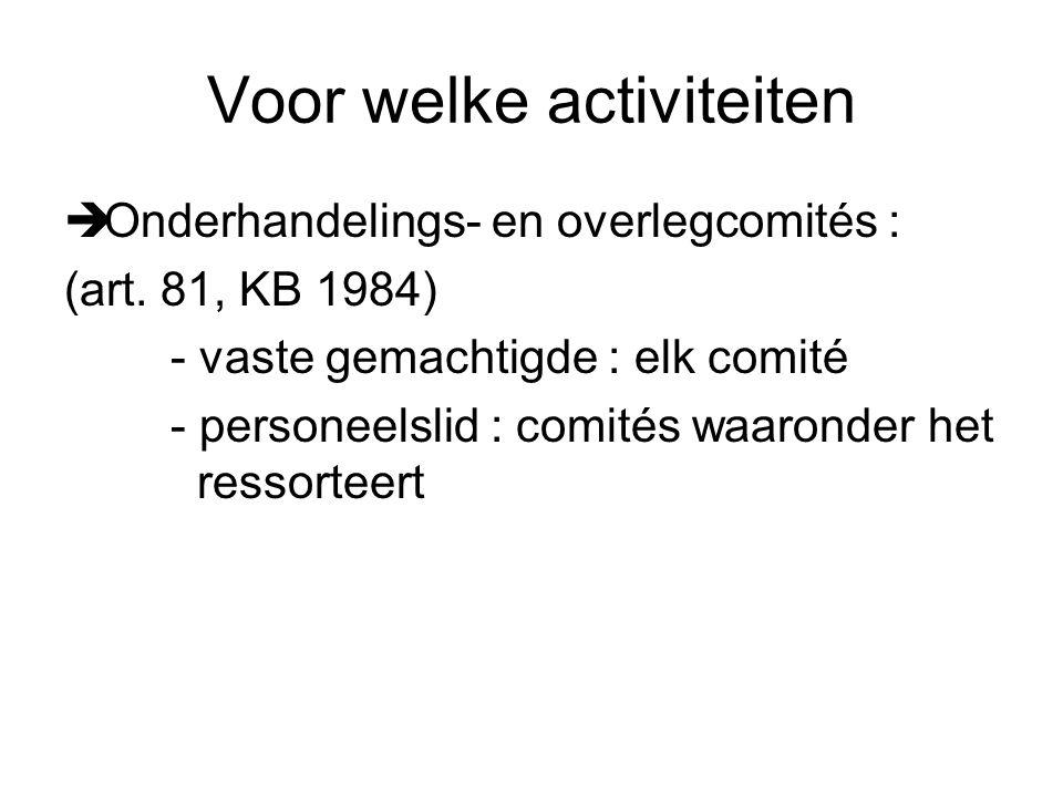 Voor welke activiteiten  Onderhandelings- en overlegcomités : (art.