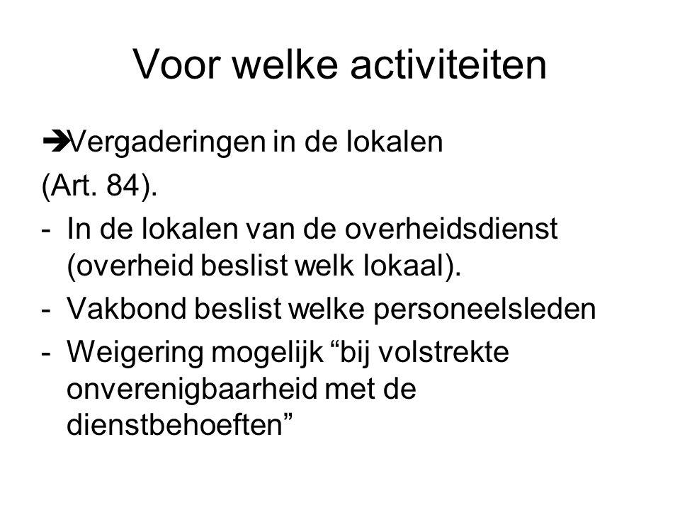 Voor welke activiteiten  Vergaderingen in de lokalen (Art.