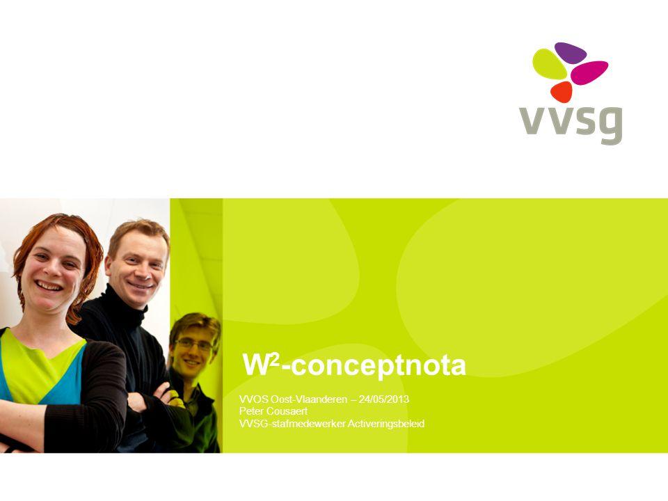 VVSG - Regionaal W 2 -netwerk Afstemming op mesoniveau Taken >> overleg en samenwerking partners >> afstemmingsafspraken >> signaleren hiaten aanbod >> signaleren knelpunten samenwerking en aanbevelingen Voorzitterschap VDAB of GTB (of door netwerk aangeduide voorzitter) Rol provincie als ondersteuner 24-05-201322 -W2-conceptnota – VVOS Oost-Vlaanderen