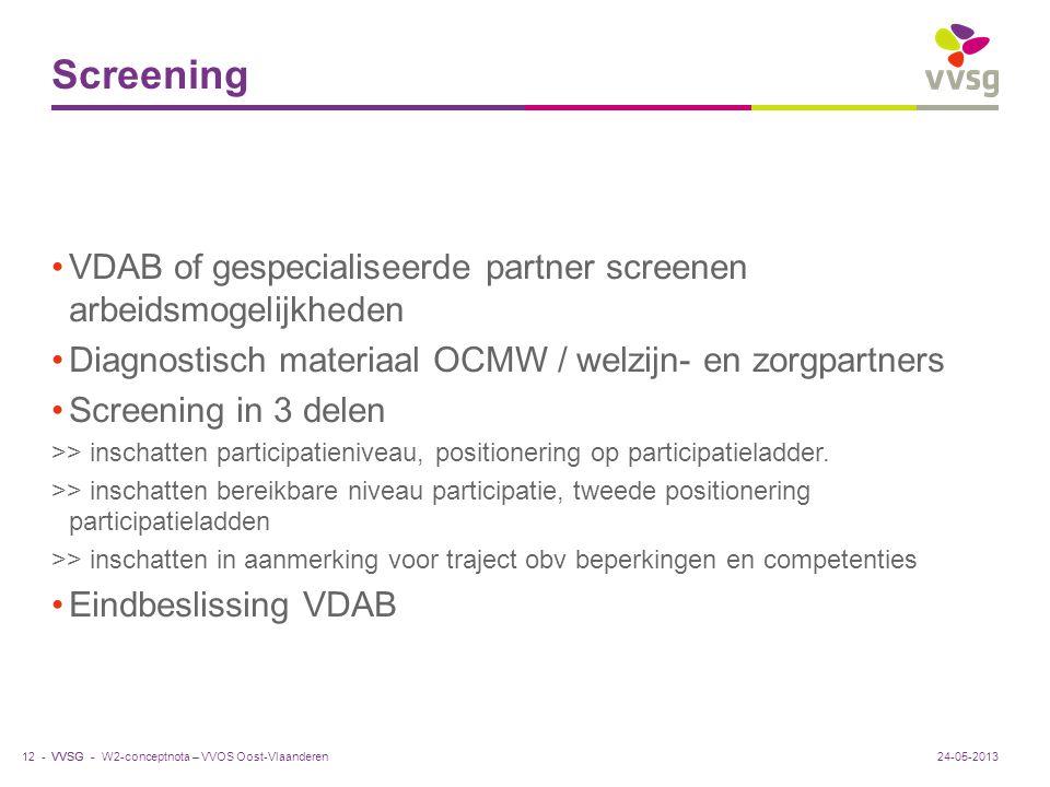 VVSG - Screening VDAB of gespecialiseerde partner screenen arbeidsmogelijkheden Diagnostisch materiaal OCMW / welzijn- en zorgpartners Screening in 3
