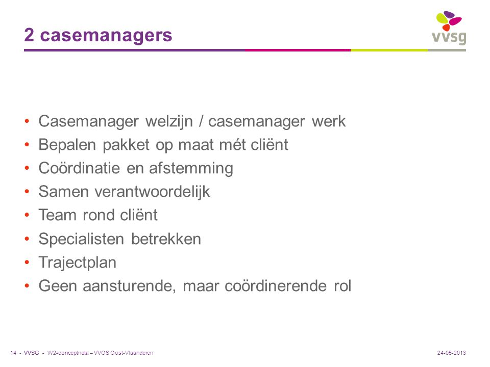 VVSG - 2 casemanagers Casemanager welzijn / casemanager werk Bepalen pakket op maat mét cliënt Coördinatie en afstemming Samen verantwoordelijk Team r
