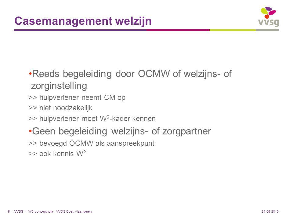 VVSG - Casemanagement welzijn Reeds begeleiding door OCMW of welzijns- of zorginstelling >> hulpverlener neemt CM op >> niet noodzakelijk >> hulpverle