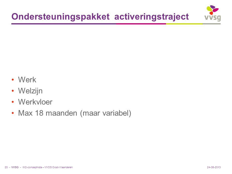 VVSG - Ondersteuningspakket activeringstraject Werk Welzijn Werkvloer Max 18 maanden (maar variabel) 24-05-201320 -W2-conceptnota – VVOS Oost-Vlaander