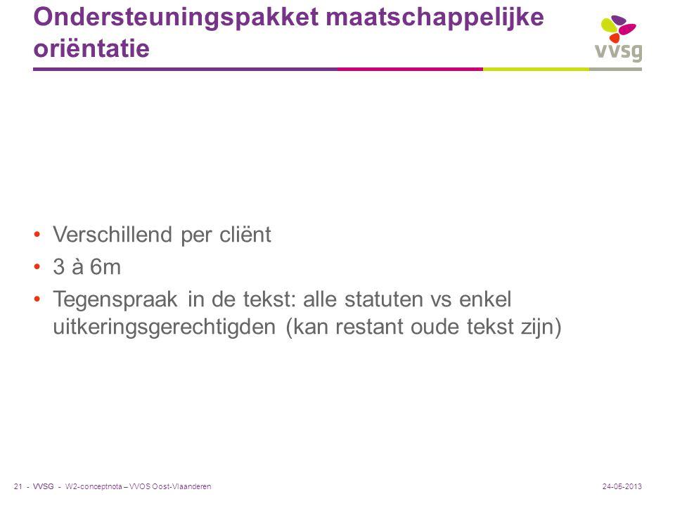 VVSG - Ondersteuningspakket maatschappelijke oriëntatie Verschillend per cliënt 3 à 6m Tegenspraak in de tekst: alle statuten vs enkel uitkeringsgerec