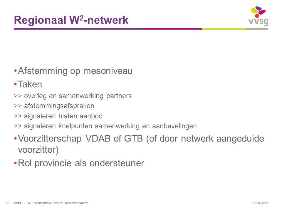 VVSG - Regionaal W 2 -netwerk Afstemming op mesoniveau Taken >> overleg en samenwerking partners >> afstemmingsafspraken >> signaleren hiaten aanbod >