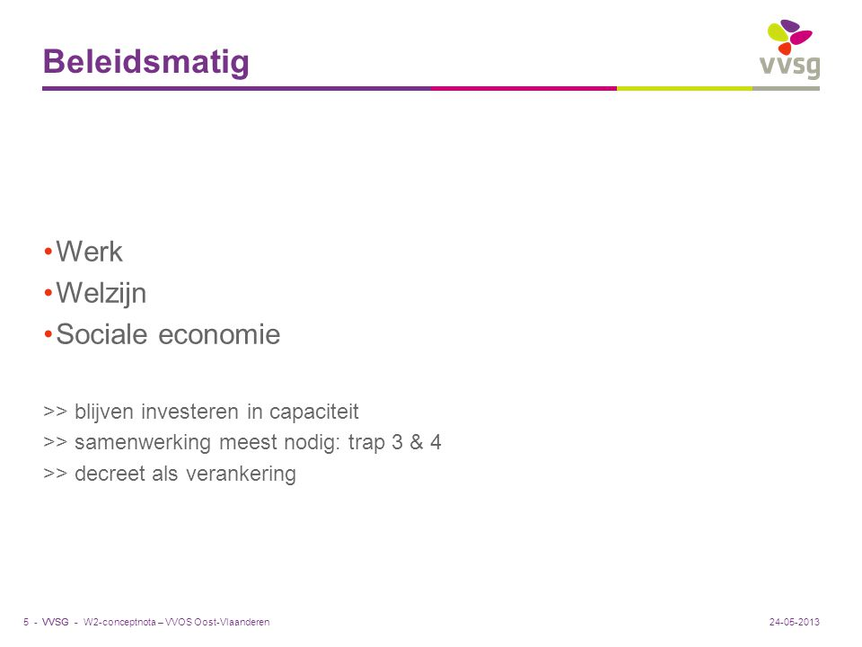 VVSG - Drie soorten trajecten Tijdelijke activeringstrajecten Trajecten maatschappelijke oriëntatie Trajecten arbeidsmatige activering met zorg- en welzijnsondersteuning >> aanbouwdecreet >> 3de soort trajecten niet uitgewerkt deze legislatuur >> contradictie: oorspronkelijke doelstelling regeling arbeidszorg 24-05-20136 -W2-conceptnota – VVOS Oost-Vlaanderen