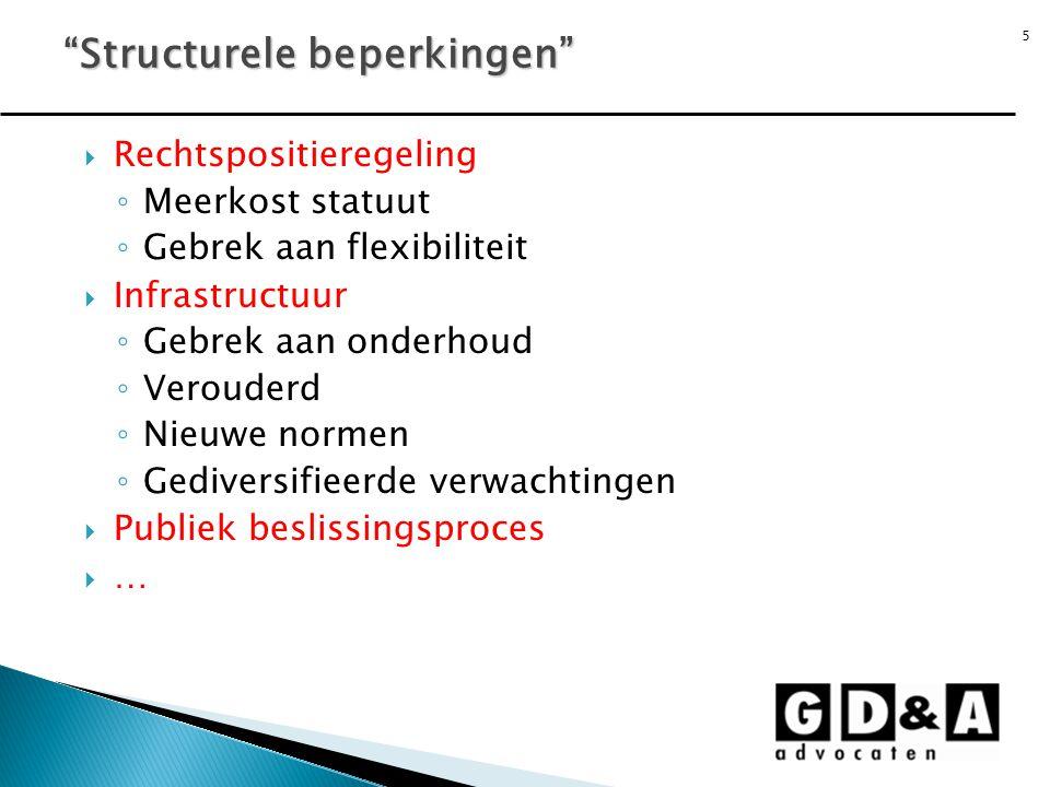 5  Rechtspositieregeling ◦ Meerkost statuut ◦ Gebrek aan flexibiliteit  Infrastructuur ◦ Gebrek aan onderhoud ◦ Verouderd ◦ Nieuwe normen ◦ Gediversifieerde verwachtingen  Publiek beslissingsproces  … Structurele beperkingen
