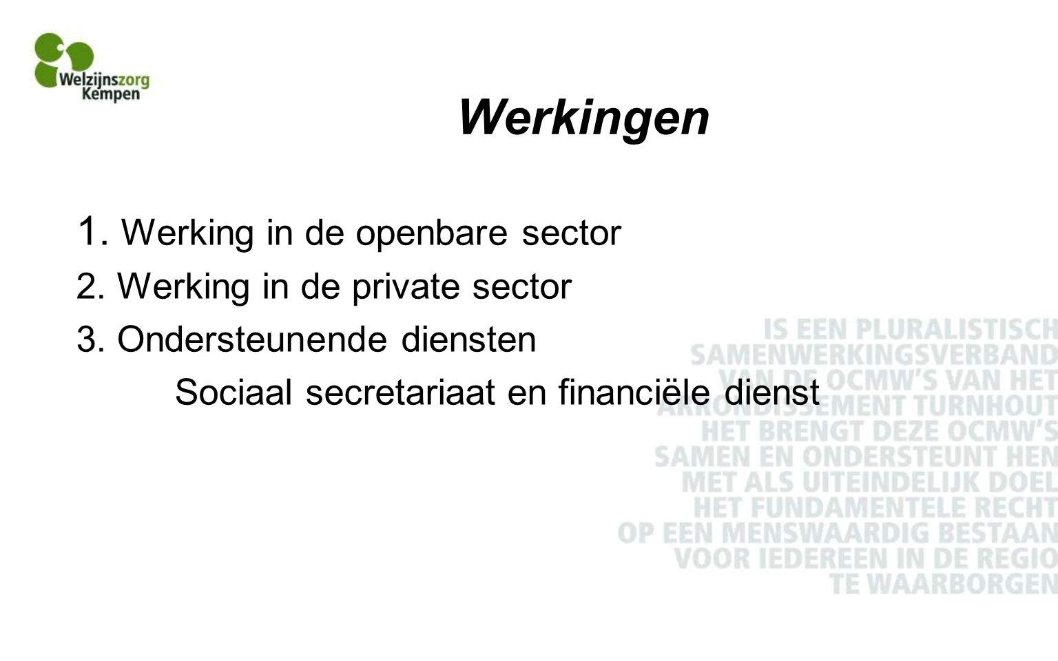 Werkingen 1.Werking in de openbare sector 2. Werking in de private sector 3.