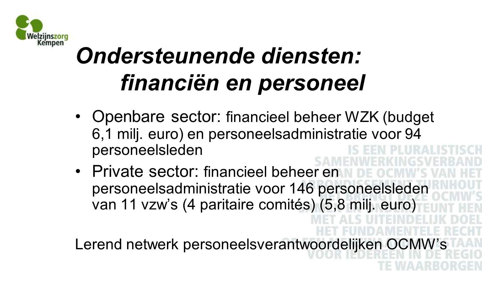 Ondersteunende diensten: financiën en personeel Openbare sector: financieel beheer WZK (budget 6,1 milj.
