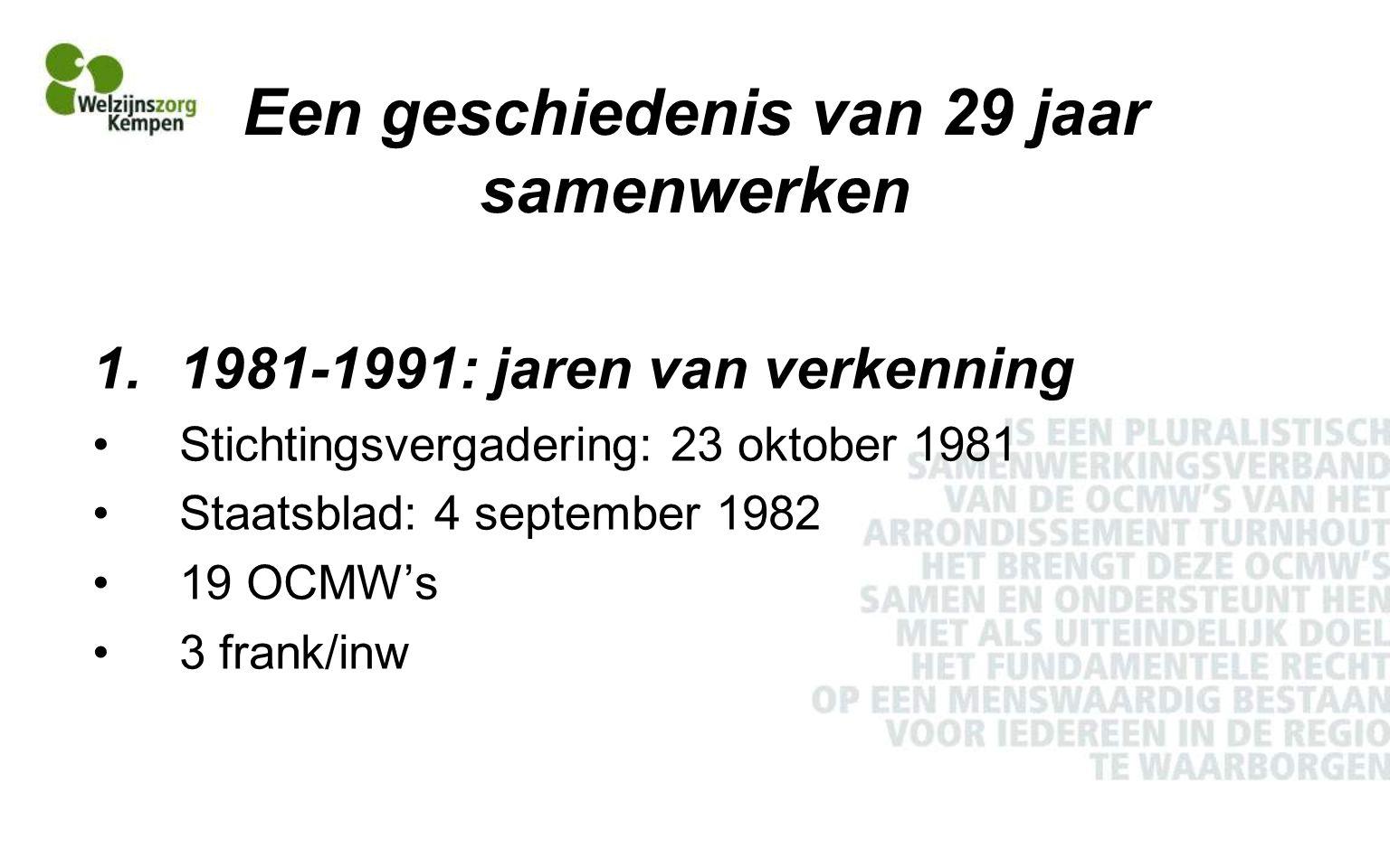 Een geschiedenis van 29 jaar samenwerken De vereniging mag initiatieven nemen die een regionale aanpak en samenwerking vereisen en de mogelijkheid van de afzonderlijke OCMW's te boven gaan (statuten, art.3) Thema's: Opvang van demente bejaarden Crisisopvang Politieke vluchtelingen 1987: participatie in vzw CGG (ipv IOK)