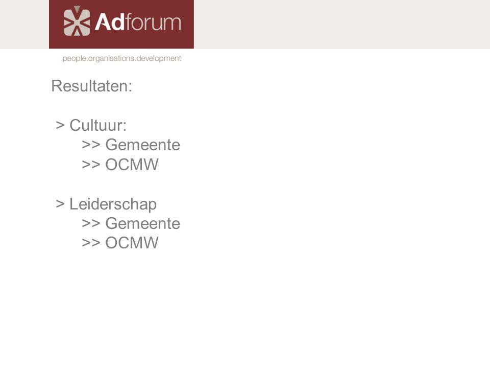 Resultaten: > Cultuur: >> Gemeente >> OCMW > Leiderschap >> Gemeente >> OCMW