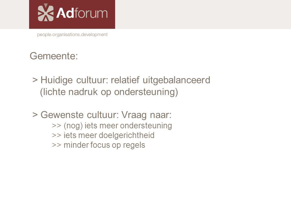 Gemeente: > Huidige cultuur: relatief uitgebalanceerd (lichte nadruk op ondersteuning) > Gewenste cultuur: Vraag naar: >> (nog) iets meer ondersteunin