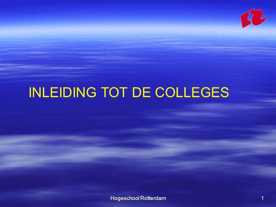 Hogeschool Rotterdam1 INLEIDING TOT DE COLLEGES