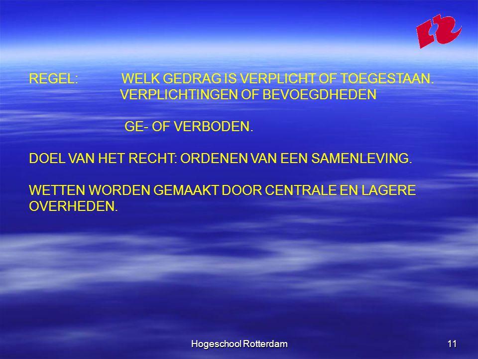 Hogeschool Rotterdam11 REGEL: WELK GEDRAG IS VERPLICHT OF TOEGESTAAN.
