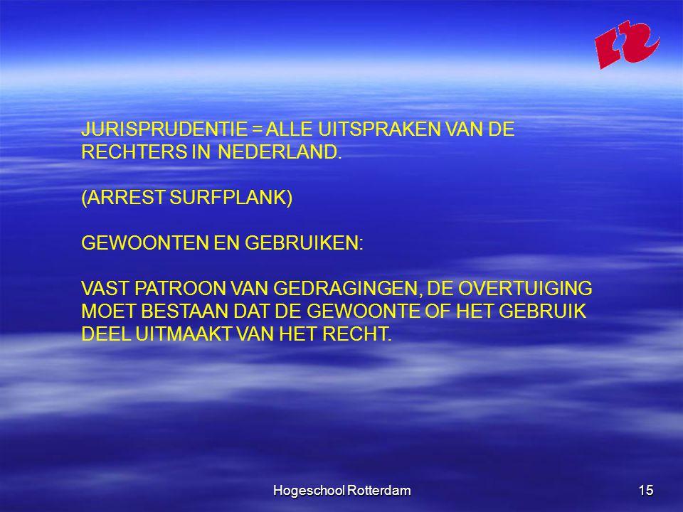 Hogeschool Rotterdam15 JURISPRUDENTIE = ALLE UITSPRAKEN VAN DE RECHTERS IN NEDERLAND.