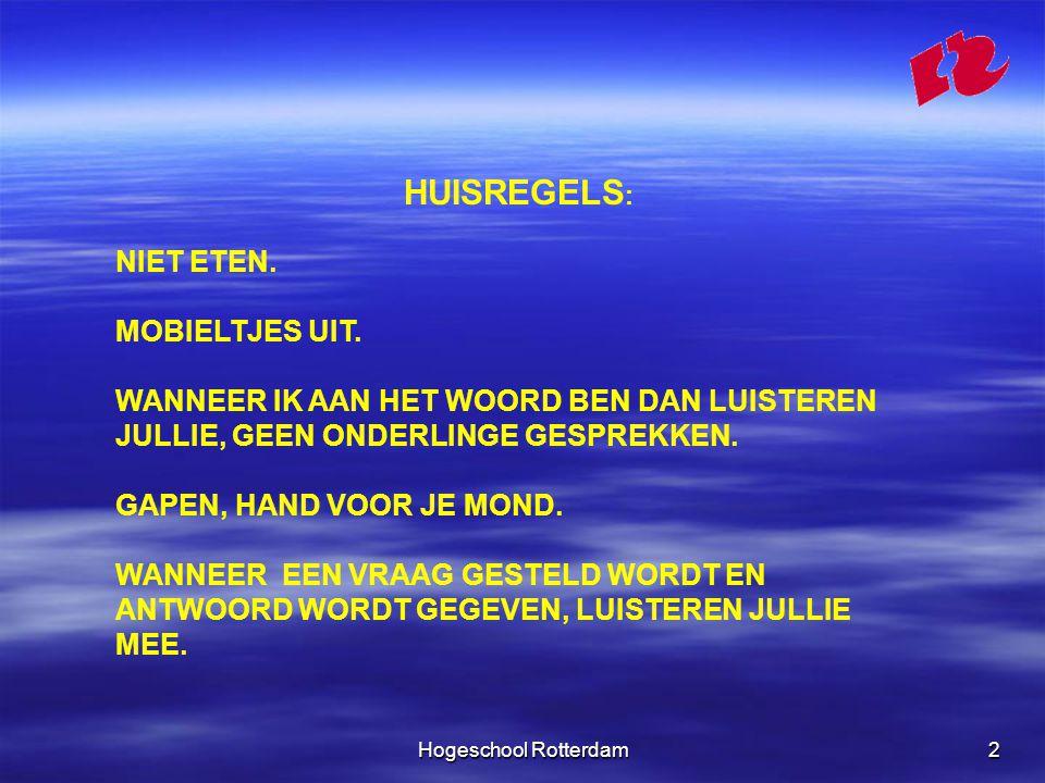 Hogeschool Rotterdam3 LEERDOELEN -de bronnen van recht en hun onderlinge samenhang beschrijven; -het onderscheid tussen publiek- en privaatrecht aangeven; -de basisregels van het Nederlands burgerlijk procesrecht noemen; -de verhouding tussen ondernemer en consument vanuit een privaatrechtelijke invalshoek beschrijven; -vanuit het perspectief van een ondernemer handelen bij de oprichting van een bedrijf;