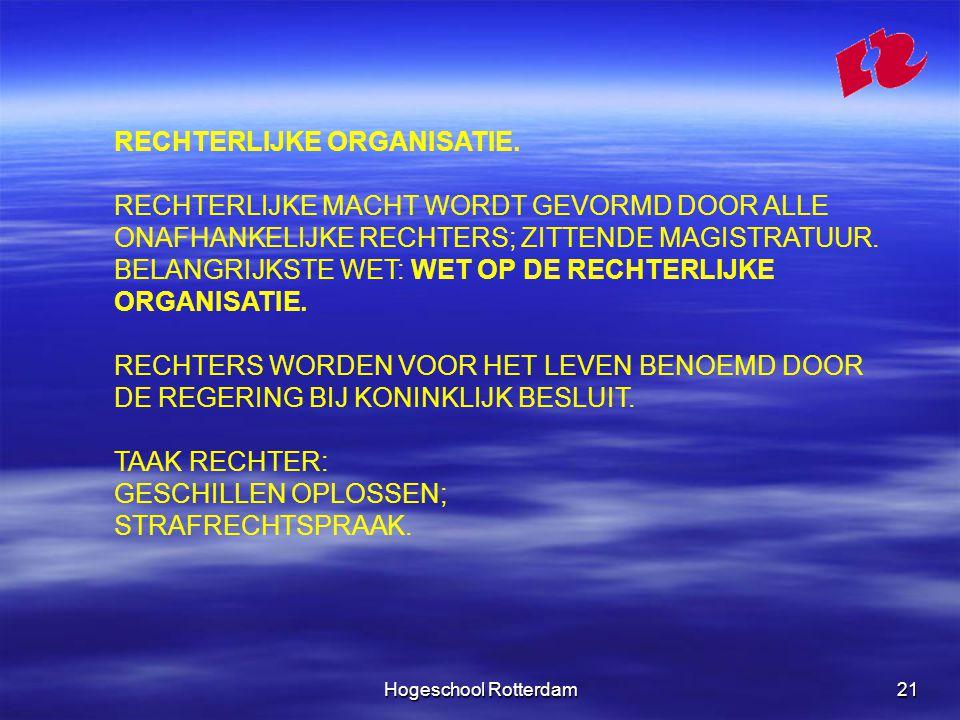 Hogeschool Rotterdam21 RECHTERLIJKE ORGANISATIE.