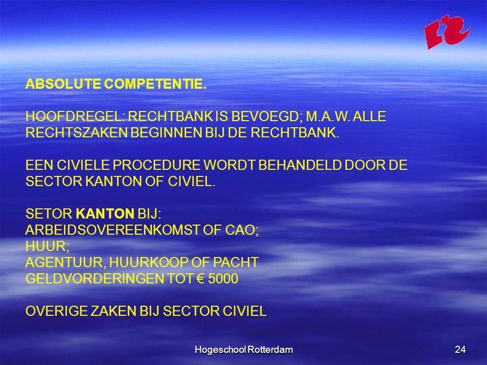 Hogeschool Rotterdam24 ABSOLUTE COMPETENTIE. HOOFDREGEL: RECHTBANK IS BEVOEGD; M.A.W.