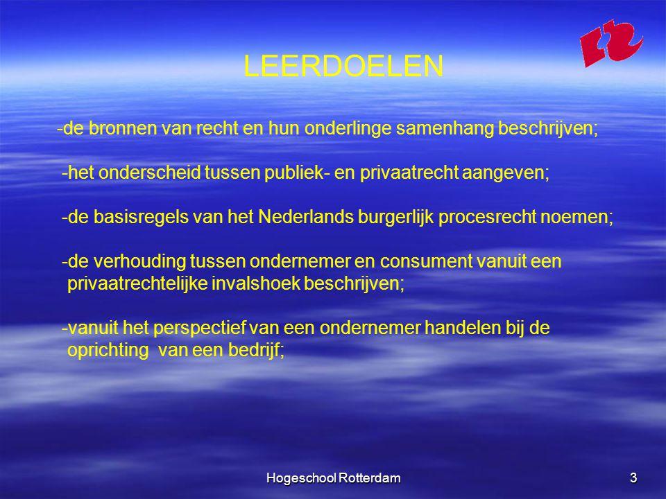Hogeschool Rotterdam14 WETTEN HIERIN IS HET GESCHREVEN RECHT OPGENOMEN.