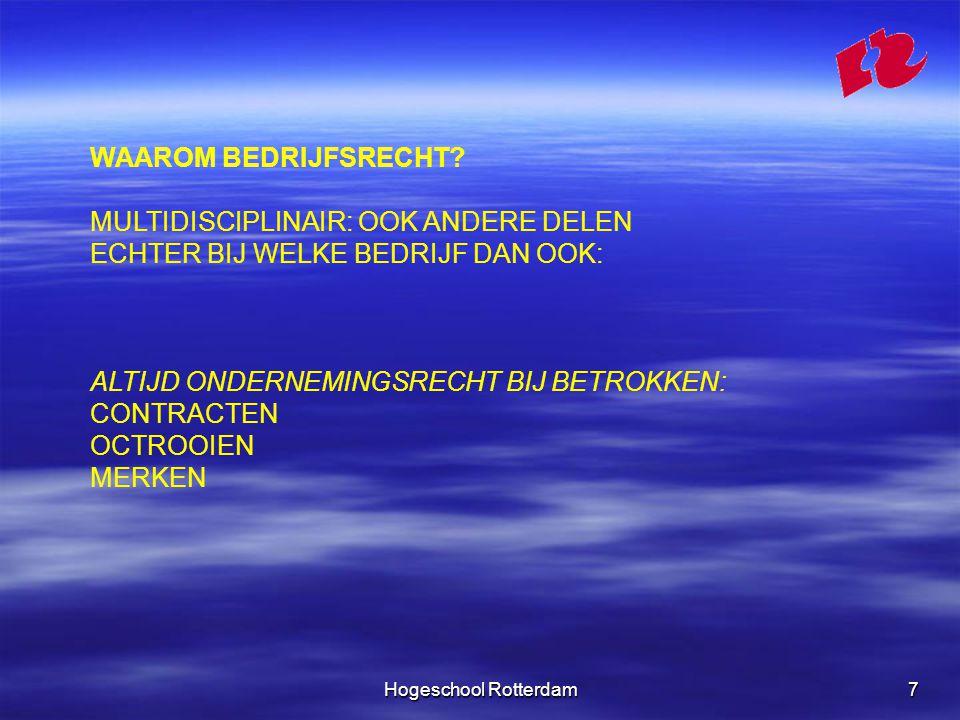 Hogeschool Rotterdam18 FORMEEL EN MATERIEEL RECHT PROCESRECHT VORMT HET FORMELE RECHT.